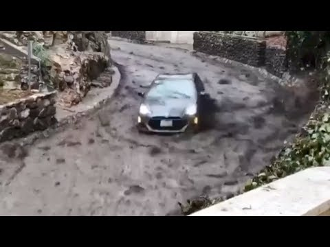 Montecito mudslides: The terrifying moment a wave of mud hit - BBC News