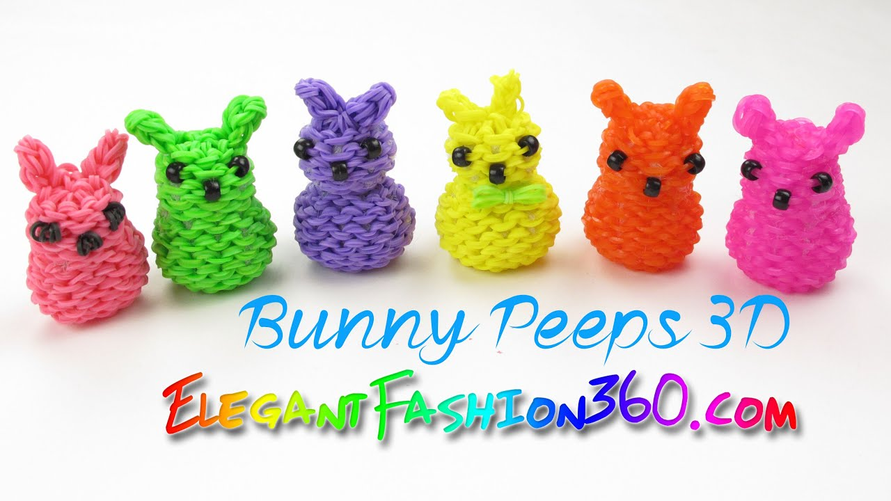 Rainbow Loom Marshmallow Bunny Peeps 3d Charm How To