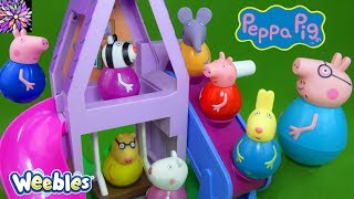 LOTS of Peppa Pig Weebles Toys Daddy Pig George Red Car Train Wind and Wobble Playhouse Playset Toys