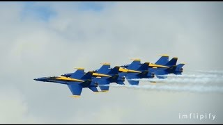 US Navy Blue Angels vs US Air Force F22 Raptor at 2014 Chicago Air & Water Show