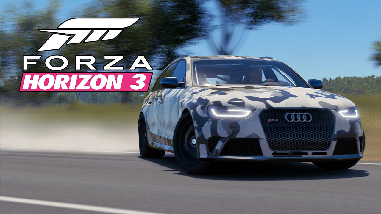 forza horizon 3 car customization 1 515hp arctic camo audi rs4 awd drift car youtube. Black Bedroom Furniture Sets. Home Design Ideas
