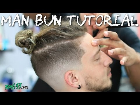 Man bun with bald skin fade with beard step by step how to