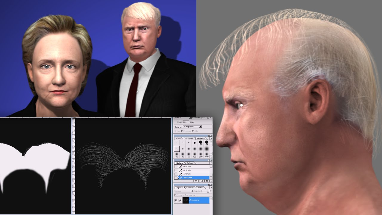 3D Hair Tutorial IC6 3DsMax Sculptris And Photoshop YouTube