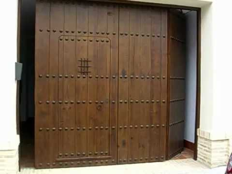 Puertas rusticas autom ticas las riberas youtube for Puertas de madera para garage