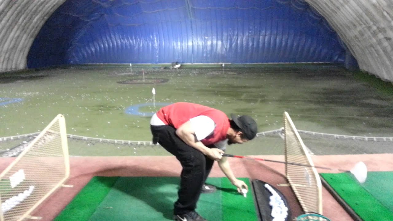 Golf Dome Trying To Hit The Cart