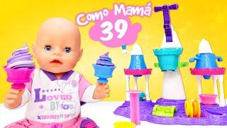 Juguete para hacer helado de Play Doh. Los bebés Baby Born en español. Como mamá.