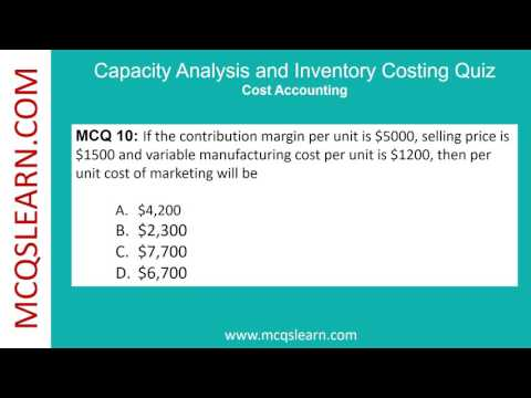 Capacity Analysis and Inventory Costing Quiz - MCQsLearn
