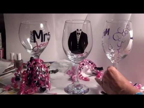 Mr and Mrs Hand Painted Wedding Glasses