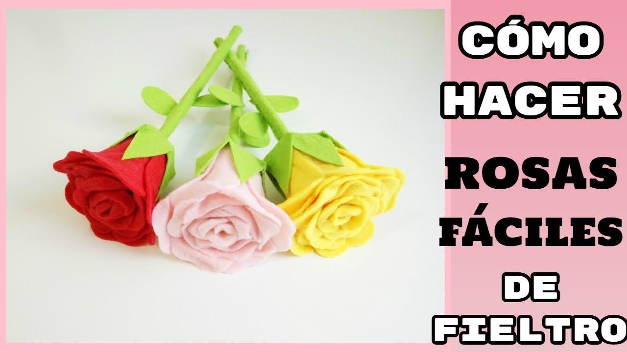 Cómo hacer Rosas muy fáciles en Fieltro - YouTube