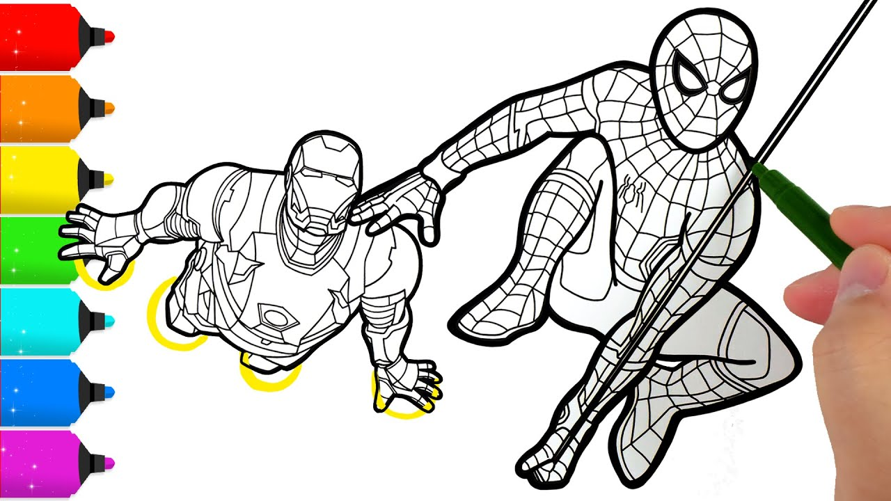 Spider Man And Iron Man Coloring Pages Youtube