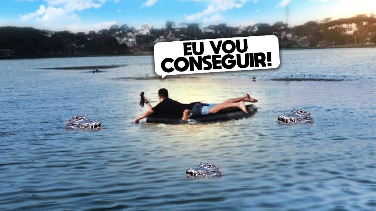 ATRAVESSEI O RIO DO MAIOR PARQUE DE CURITIBA COM UM COLCHÃO DE AR!!(QUASE FUI ATACAD0 POR UM JACARÉ!
