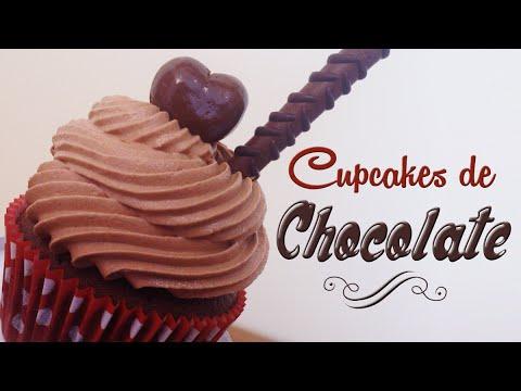 Como hacer cupcakes de chocolate | Receta fácil | Cupcakes decorados con bombones