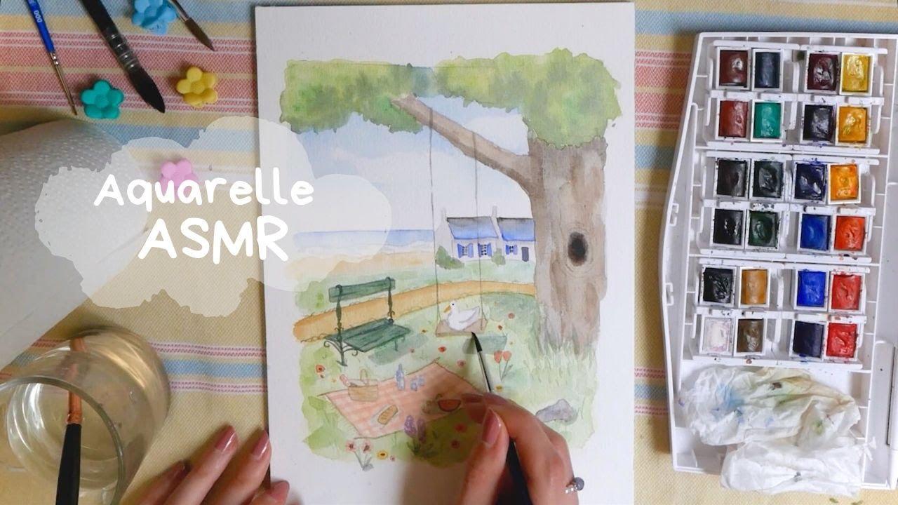 Aquarelle ASMR | Scène paisible avec canard