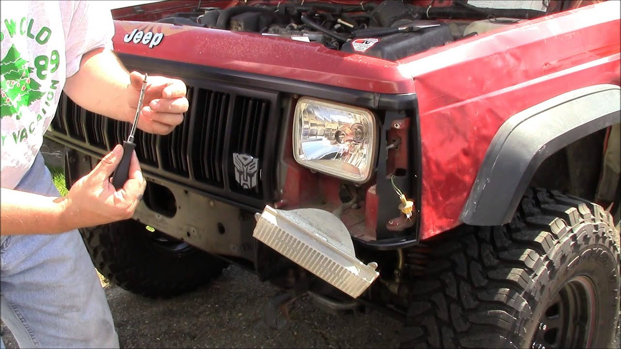 sealed beam to halogen conversion 1991 jeep cherokee sport - youtube