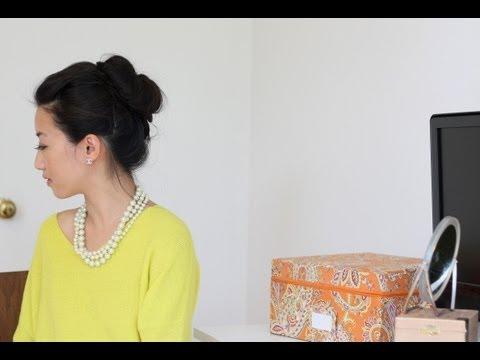 Voluminous hair bun tutorial w/ asian bumpit & Goody spin pin