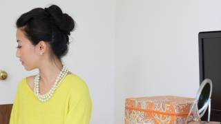 Voluminous hair bun tutorial w/ asian bumpit & Goody spin pin