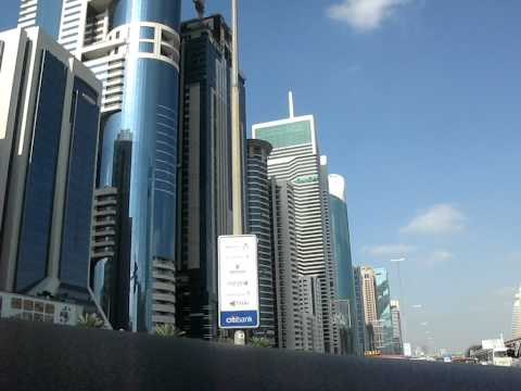 Driving in Dubai Financial District.