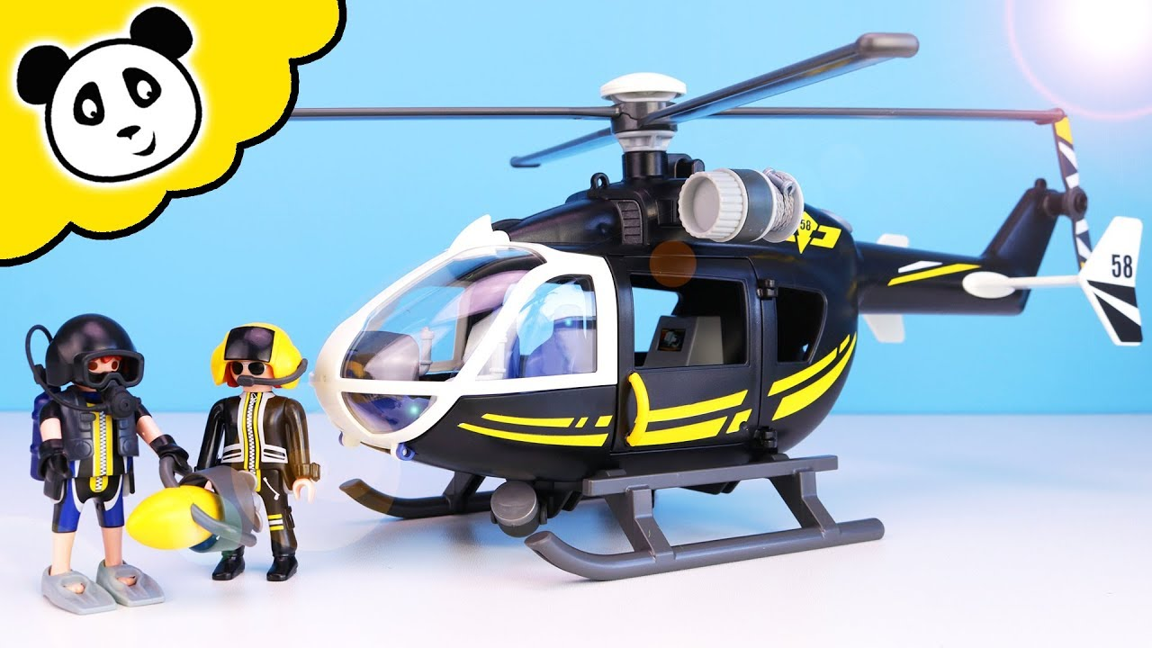 playmobil polizei - sek rettungshubschrauber mit taucher