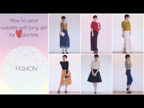 Cách mặc áo len với váy dài quá gối - How to wear knit top with long dress skirt gocDani