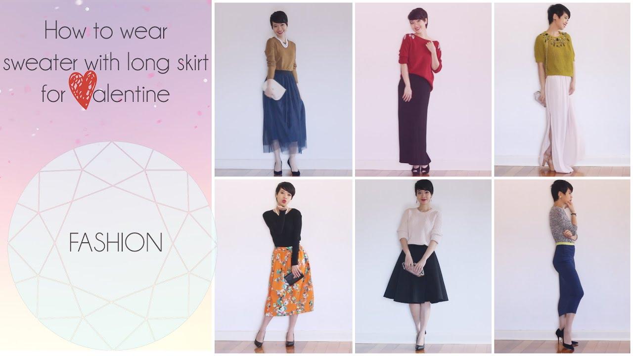 Cách mặc áo len với váy dài quá gối – How to wear knit top with long dress skirt gocDani