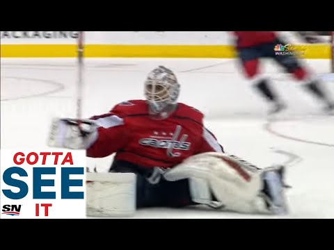 GOTTA SEE IT:  Braden Holtby Comes All The Way Out To The Blue Line To Make Crazy Sliding Play