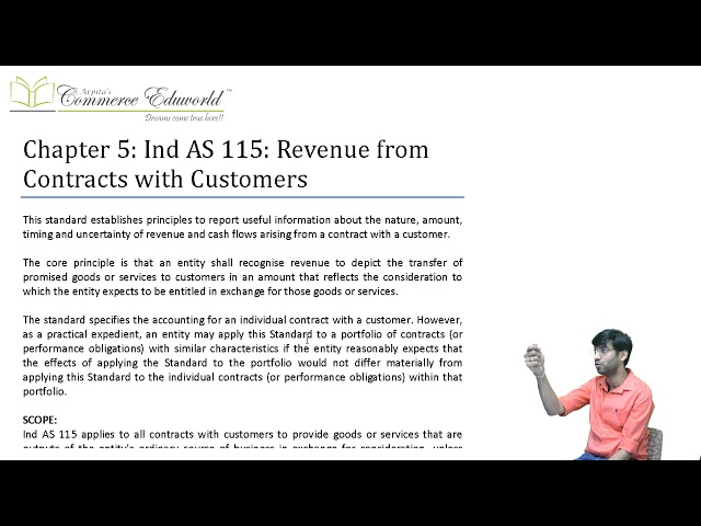 CA Final Financial Reporting Ind AS 115 (Part 1/5) by CA Vinesh Savla (New Course)