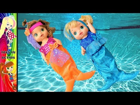 Baby Alive are Mermaids in the Swimming Pool IRL with