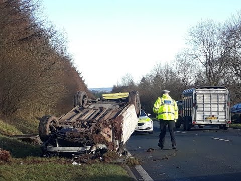 Car Crash Brecon A470 2017 Incredibly Only Walking Wounded