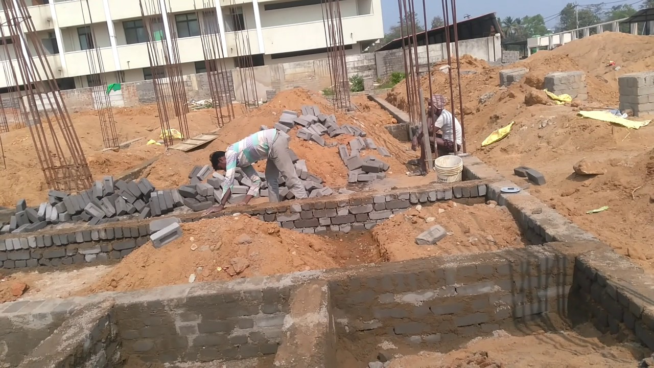 Plinth beam brick work foundation works youtube for How do foundations work
