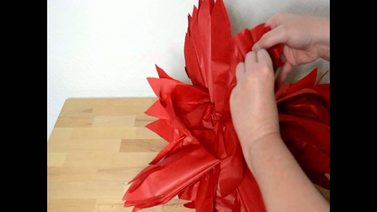 pompon aus seidenpapier f r fortgeschrittene youtube. Black Bedroom Furniture Sets. Home Design Ideas