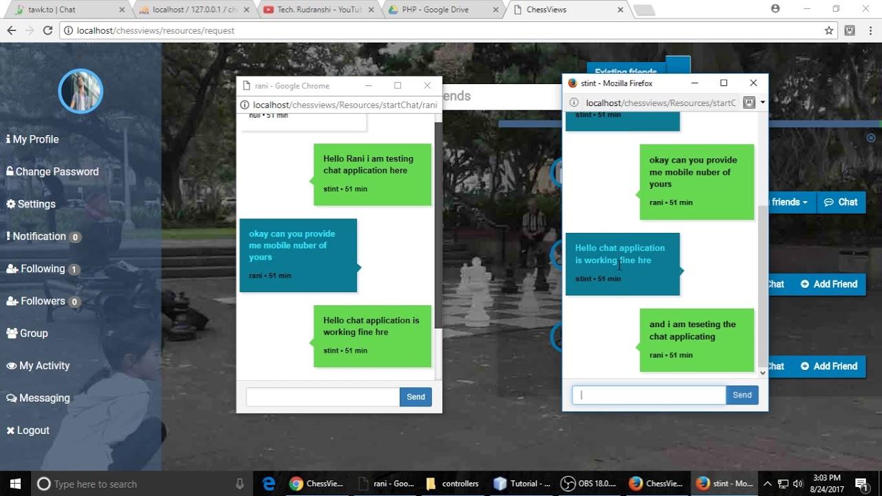 Live Multi Chat  Like Facebook Using PHP , Websocket & Javascript