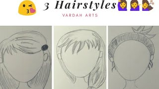 How to draw cute hairstyles. 👩 Step by Step for beginners // Vardah Arts