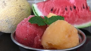 Melon Sorbet 2 ways | Cantaloupe Sorbet | Watermelon Sorbet | No Ice cream Machine needed
