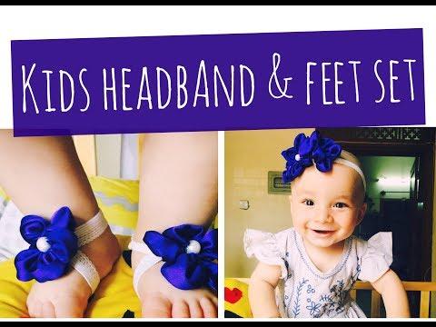 Baby barefoot Sandals and Headband set/ DIY/ Ribbon-Work