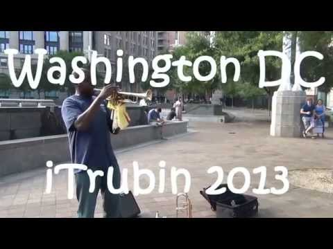 Street Jazz Trumpet at Metro Station Entrance in Washington DC - Hello Dolly!
