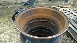 Садовая печь для сжигания мусора из колёсных дисков