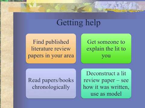 Writing the literature review chapter