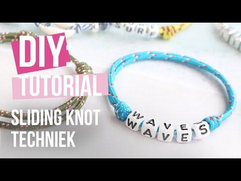 Sieraden maken: Verschuifbare 'sliding knot' techniek met maritiem koord ♡ DIY