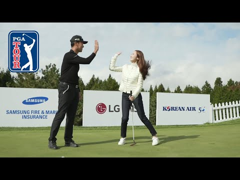 Kevin Na teaches Jessica Jung how to walk in putts