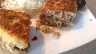 Мясные зразы с яично-сырной начинкой