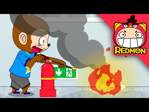 Be careful of fire (Fire extinguisher cartoon) | Daily life safety | REDMON