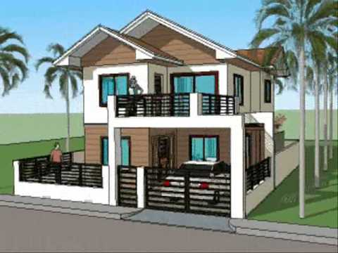 Simple house plan designs 2 level home youtube for Simple bungalow house design with terrace