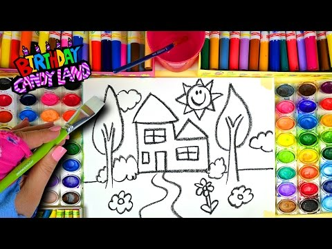 Thumbnail: Learn Colors for Kids and Hand Color Watercolor New House Coloring Pages