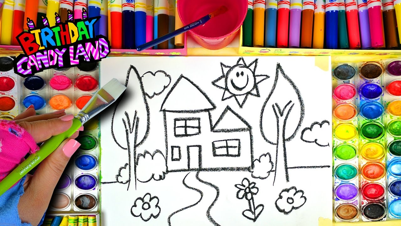 Learn Colors for Kids and Hand Color Watercolor New House Coloring ...