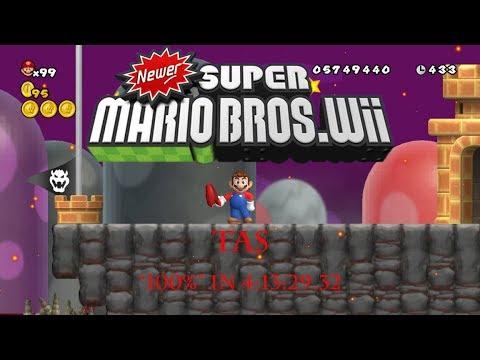 "(TAS) Newer Super Mario Bros. Wii ""100%"" In 4:13:29.32"