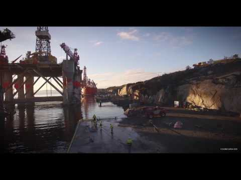 Giant oil rig precision mooring at the west coast of Norway! New updated version.