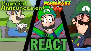 LUIGIKID REACTS TO: LUIGI DEATH STARE, LUIGI KART, MARIO KART 69 (+SPECIAL ANNOUNCEMENT!)
