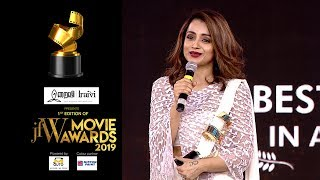 Fans have always stood by me Trisha Krishnan at JFW Movie Awards  Best Actress for 96