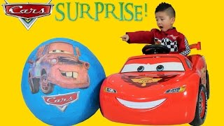 Disney Cars Giant Surprise Egg Lightning McQueen Toys Unboxing and Opening Fun With Ckn Toys