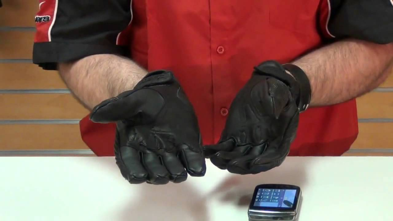 Icon justice touch screen compatible leather motorcycle glove